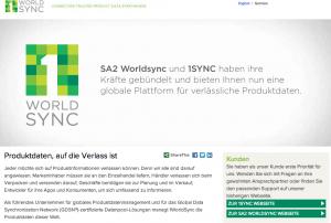 Screenshot Website: 1WorldSync
