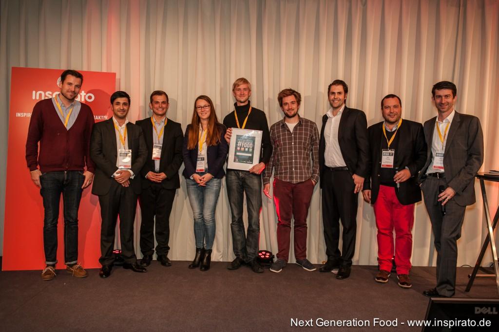 Die Teilnehmer des letzten E-Food Startup Pitches Foodloop, Uglyfruits und CptnCook